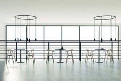 Lüpfen Sie schwarze Tabellen des Cafés, die Holzstühle, konkret lizenzfreie abbildung