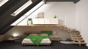Lüpfen Sie Skandinavisches Unbedeutendes Schlafzimmer Grün Und Gelb