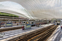 Lüttich Guillemins. Futuristic train station of Lüttich build in 2009 by the spanish architect Santiago Calatrava Stock Image