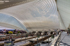 Lüttich Guillemins. Futuristic train station of Lüttich build in 2009 by the spanish architect Santiago Calatrava Royalty Free Stock Photos