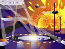 Lądować międzygalaktycznego starship na lotnisku planeta Mąci ilustracja wektor
