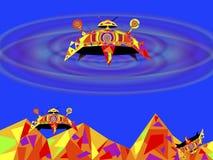 Lądować międzyplanetarny i międzygalaktyczny starship ilustracja wektor