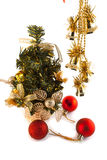L冷杉木和新年的玩具 库存图片