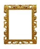 L'or à jour de vintage a plaqué le cadre en bois sur le fond blanc photo libre de droits