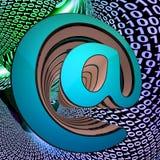 L'À-symbole montre l'enveloppe de courrier de télécommunication du monde Photo libre de droits