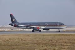 L'†«Royal Jordanian Airbus A321 d'aéroport international de Francfort décolle Image stock