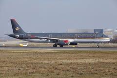 L'†«Royal Jordanian Airbus A321 d'aéroport international de Francfort décolle Photo libre de droits