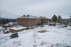 L'échafaudage de construction autour des casernes à fredriksten Image libre de droits