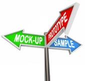 L'échantillon de maquette de prototype exprime la direction de produit de 3 signes de flèche Photos libres de droits