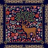 L'écharpe en soie foncée avec la forêt, les cerfs communs magiques et le zèbre impriment le cadre Images stock