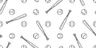L'écharpe sans couture de batte de baseball du base-ball de vecteur de modèle de base-ball a isolé le papier peint de fond de tui illustration libre de droits
