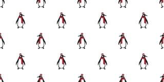 L'écharpe saumonée polaire de bande dessinée de modèle de pingouin de vecteur de Noël d'ours sans couture de Santa Claus Hat Xmas illustration de vecteur