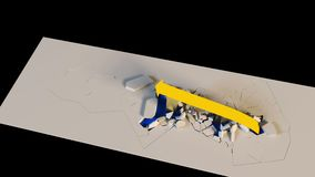 l'échelle de croissance d'affaires du rendu 3D avec une flèche détruit des barrières montant  clips vidéos