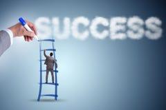 L'échelle de dessin de main pour l'homme d'affaires réussi Image libre de droits