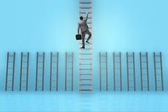 L'échelle s'élevante de carrière d'homme d'affaires dans le concept de réussite commerciale Images libres de droits