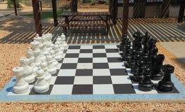L'échiquier avec des échecs noirs et blancs énormes figure pour jouer extérieur Milieux gentils Photo libre de droits
