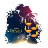 L'éclaboussure d'aquarelle avec les lampes accrochantes de diwali dirigent le fond Image libre de droits