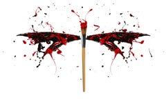 L'éclaboussure noire et rouge de peinture a fait la libellule Images libres de droits