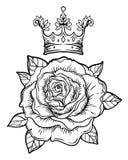 L'éclair de tatouage de Blackwork avec a monté Rose Flower V fortement détaillé Illustration de Vecteur