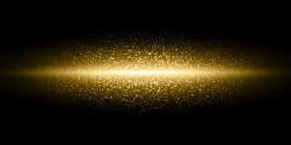 L'éclair léger d'or scintillent des particules de poussière éclater le fond, dirigent la ligne d'or de lueur de fusées de miroite illustration de vecteur