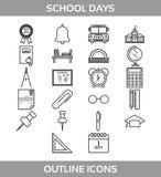 L'école et le bureausimples d'ofd'ensemble dirigent des icônesde LineContient le bâtimentscolaired'asd'Iconsde suchÂ, illustration stock
