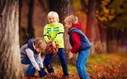 L'école heureuse avec plaisir badine, des amis ayant l'amusement jetant les feuilles tombées dans le parc d'automne Photos stock