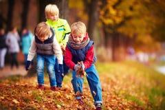 L'école heureuse badine, des amis ayant l'amusement jetant les feuilles tombées dans le parc d'automne Images libres de droits