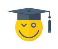 L'école, l'éducation et le concept d'obtention du diplôme dirigent l'illustratio plat Photos stock