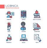 L'école moderne et la ligne mince d'éducation conçoivent des icônes, pictogrammes Photos libres de droits