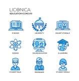 L'école moderne et la ligne mince d'éducation conçoivent des icônes, pictogrammes illustration libre de droits