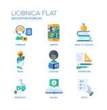 L'école moderne et la ligne mince d'éducation conçoivent des icônes, pictogrammes Image libre de droits