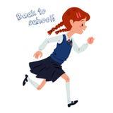 L'écolière courante s'est habillée dans des uniformes sur le fond blanc Photographie stock libre de droits