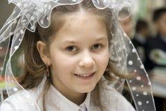 L'écolière le 1er septembre Photographie stock libre de droits