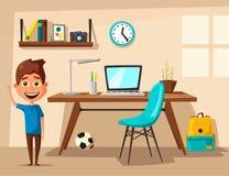 L'écolier apprend des leçons à la maison Illustration de vecteur de dessin animé illustration de vecteur