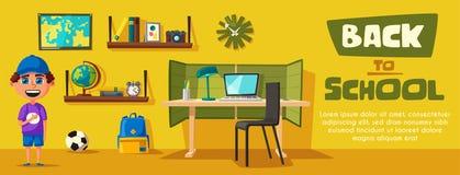 L'écolier apprend des leçons à la maison Illustration de vecteur de dessin animé illustration libre de droits
