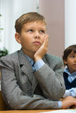L'écolier pensif Images libres de droits