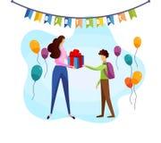 L'écolier prennent le boîte-cadeau d'anniversaire de la main de mère illustration stock