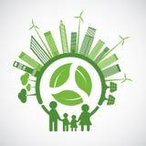 L'écologie de famille et le concept environnemental avec les feuilles vertes autour des villes aident le monde avec des idées qui illustration de vecteur