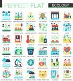 L'écologie et l'énergie verte dirigent des symboles plats complexes de concept d'icône pour la conception infographic de Web Image stock