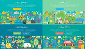 L'écologie, technologie verte, réutilisent et sauvent l'ensemble horizontal plat horisontal de bannières de conception de l'avant illustration de vecteur