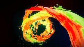 L'écoulement de vortex liquide coloré lumineux de résumé avec éclabousse le mouvement lent illustration libre de droits