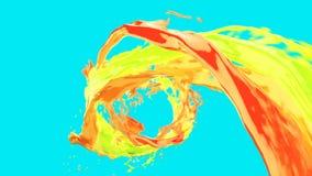 L'écoulement de vortex liquide coloré lumineux de résumé avec éclabousse sur la clé de chroma illustration de vecteur