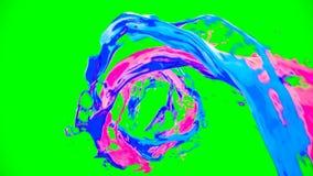 L'écoulement de vortex liquide coloré lumineux de résumé avec éclabousse sur la clé de chroma illustration stock