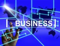 L'écran d'affaires représente le commerce international ou l'Internet Co Images stock