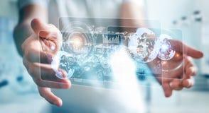 L'écran d'hologramme avec des données numériques employées par l'homme d'affaires 3D rendent Images libres de droits
