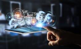 L'écran d'hologramme avec des données numériques employées par l'homme d'affaires 3D rendent Photographie stock