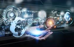 L'écran d'hologramme avec des données numériques employées par l'homme d'affaires 3D rendent Images stock