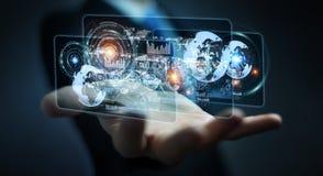L'écran d'hologramme avec des données numériques employées par l'homme d'affaires 3D rendent Photo libre de droits