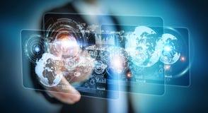 L'écran d'hologramme avec des données numériques employées par l'homme d'affaires 3D rendent Photos stock