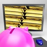 L'écran de bars d'or affiche le trésor précieux brillant Photographie stock libre de droits